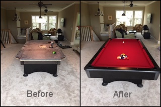 Rock Hill pool table recovering job in Shouth Carolina
